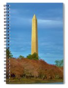 Monument Blossoms, Japanese Cherry Blossom Trees With The Washington Monument In The Background Spiral Notebook