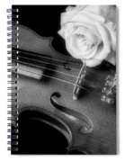 Moody Violin And Rose In Black And White Spiral Notebook