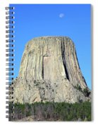 Moon And Devil's Tower National Monument, Wyoming Spiral Notebook