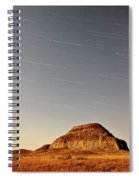 Moon Lit Castle Butte And Star Tracks In Scenic Saskatchewan Spiral Notebook