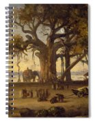 Moonlit Scene Of Indian Figures And Elephants Among Banyan Trees Spiral Notebook