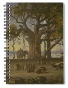 Moonlit Scene Of Indian Figures And Elephants Among Banyan Trees. Upper India Spiral Notebook
