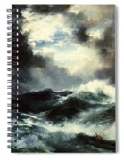 Moonlit Shipwreck At Sea Spiral Notebook