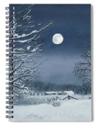Moonlit Snowy Scene On The Farm Spiral Notebook