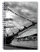 Moored At Hobart Bw Spiral Notebook