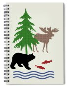 Moose And Bear Pattern Art Spiral Notebook