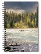 Morning Fog At Athabasca River Spiral Notebook