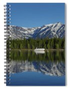 Morning Reflection Boats On Colter Bay Spiral Notebook