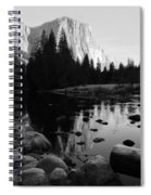Morning Sunlight On El Cap - Black And White Spiral Notebook