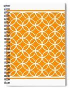 Moroccan Endless Circles I With Border In Tangerine Spiral Notebook
