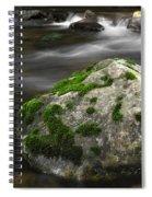 Mossy Boulder In Mountain Stream Spiral Notebook