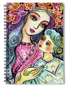 Mother And Child In Blue Spiral Notebook