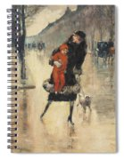 Mother And Child On A Street Crossing Spiral Notebook