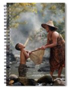 Mother And Son Are Happy With The Fish In The Natural Water Spiral Notebook