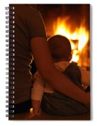 Mother And Son Sitting In Front Of A Firepalce Spiral Notebook