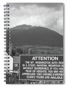 Mount Washington Nh Warning Sign Black And White Spiral Notebook