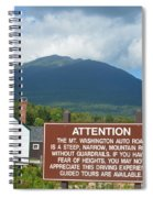 Mount Washington Nh Warning Sign Spiral Notebook