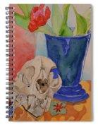 Mountain Lion Skull Tea And Tulips Spiral Notebook