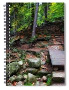 Mountain Trail With Staircase In Autumn Forest Spiral Notebook