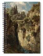 Mountainous Landscape With Waterfall Spiral Notebook