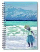 Mountains Ocean With Little Girl  Spiral Notebook