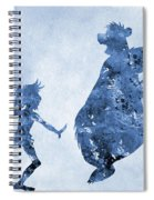 Mowgli And Baloo-blue Spiral Notebook