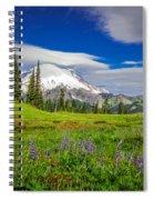 Mt Rainier And Wildflowers Spiral Notebook