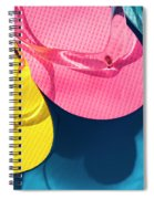 Multicolored Flip Flops Floating In Pool Spiral Notebook
