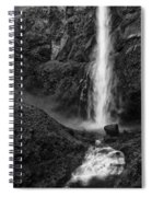 Multnomah Falls In Black And White Spiral Notebook