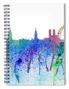 Munich Skyline Silhouette An Impressionistic Splash - Dream Cities Series Spiral Notebook