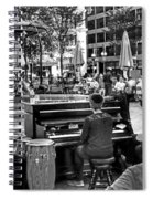 Music On The Boston Common Boston Ma Black And White Spiral Notebook
