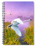 Mute Swans Over Marshes Spiral Notebook