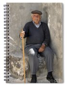 Mykonos Man With Walking Stick Spiral Notebook