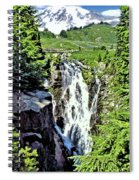 Myrtle Falls And Mount Rainier Spiral Notebook