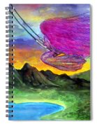Mzia On Swings. Beauty Girl With Fuchsia Hair Spiral Notebook