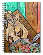 Naive Cat With Apples Spiral Notebook