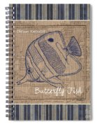 Nautical Stripes Butterfly Fish Spiral Notebook