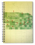 Nebraska Map Square Cities Straight Pin Vintage Spiral Notebook