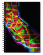 Neon California State Map Spiral Notebook