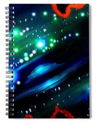 Neon Stars, Green Galaxy And Ufo Spiral Notebook