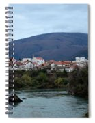Neretva River And Mostar City And Hills With Mosque Minaret Bosnia Herzegovina Spiral Notebook