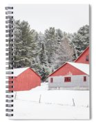 New England Farm With Red Barns In Winter Spiral Notebook