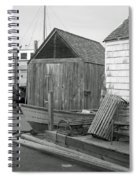 New England Wharf Scene In Black And White Spiral Notebook