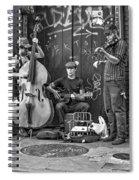 New Orleans Street Musicians Bw Spiral Notebook