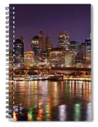 New York City Brooklyn Bridge And Lower Manhattan At Night Nyc Spiral Notebook
