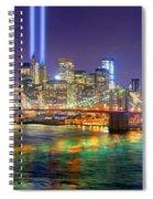 New York City Brooklyn Bridge Tribute In Lights Freedom Tower World Trade Center Wtc Manhattan Nyc Spiral Notebook
