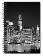 New York City Bw Tribute In Lights And Lower Manhattan At Night Black And White Nyc Spiral Notebook