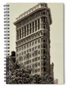 New York City - Flatiron In Sepia Spiral Notebook