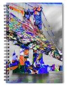 New York City Manhattan Bridge Pure Pop Blue Spiral Notebook