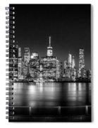 New York City Skyline Panorama At Night Bw Spiral Notebook
